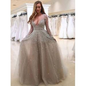 DHgate explosion models 2019 european and american-style summer new womens-long-sleeve v-neck glitter transparent dress