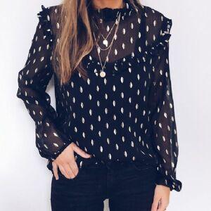 DHgate women blouse ladies designer  women boho beach summer chiffon polka dot ruffles ladies blouse long sleeve playa blusas elegante