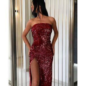 DHgate explosion models 2019 european and american womens european and american-style sequined-wrapped chest slit dress dress