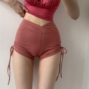 DHgate summer exposed navel drawstring shorts female tight sports ultra shorts stretch wild peach hip high waist