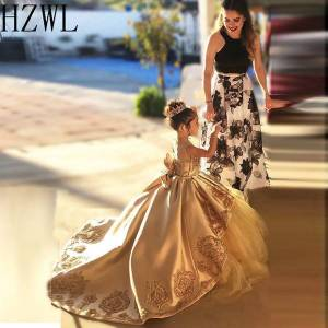 DHgate 2020 lace applique satin first communion dresses kids evening ball gown bow back girls pageant dress jewel flower girl dresses