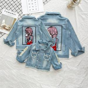 DHgate winter jean jacket for girls cartoon coat long sleeve jeans jackets baby girl clothes outerwear autumn children clothing