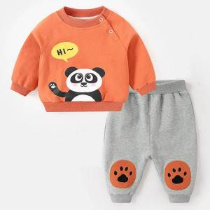 DHgate spring autumn baby boys girls clothes fashion cotton infant sports suit for boy printed t-shirt +pants 2 pcs children clothing lj201203