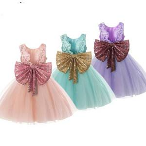 DHgate sweet big bow little girls dress sleeveless sequins back v-neck formal princess evening gown birthday party dress for kids baby