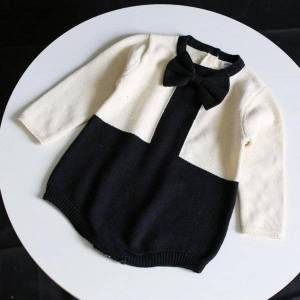 DHgate 2021 new baby girls knitted bodysuit autumn winter princess clothes newborn long sleeve bow jumpsuits outfits children sweaters 0-24m 9aoc