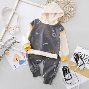DHgate children's clothing 2021 new baby boys clothes fashion cartoon boys hooded sweater long-sleeve trousers two-piece sets 1-5 years1