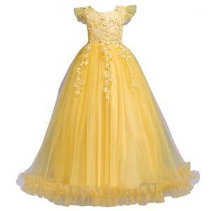 DHgate fancy princess party dresses for girls long sleeveless flower evening kid prom wedding children dress1 girl's