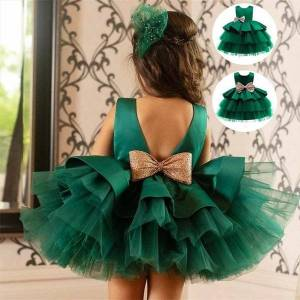 DHgate 0 5 years girl dresses sequined bowknot flower wedding evening clothes princess pageant lace gown kids birthday