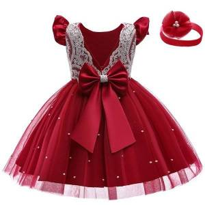 DHgate baby girls dresses for birthday kids lace princess dress elegant party wedding gown blackless bow tutu fromal evening dresses