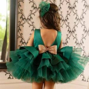 DHgate classic 1st birthday infant baby girl dress sequin bow girls tutu ball gown toddler girls clothes wedding evening party princess dresses