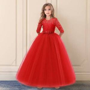 DHgate classic red christmas dress lace flower girls wedding party children clothing elegant long gown formal evening kids dresses for girls