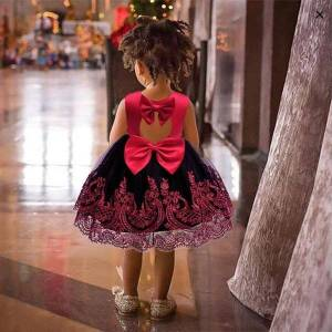 DHgate christmas for girls year girl dresses baby red princess evening party show kids children vestido lace bow