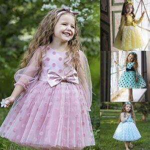 DHgate wedding party dress for girl flower polka dot elegant kids evening dresses children tulle bridesmaid dresses girls prom vestidos