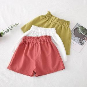 DHgate kids girls summer loose casual shorts for child girls elastic high waist short pants shorts wild color cute kids clothing