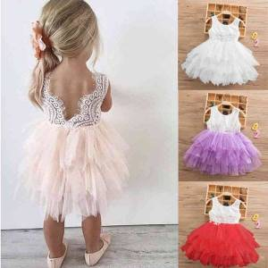 DHgate classic summer lace girls dress 3 layers wedding evening ball gown toddler girls clothes flower kids dresses for girls princess
