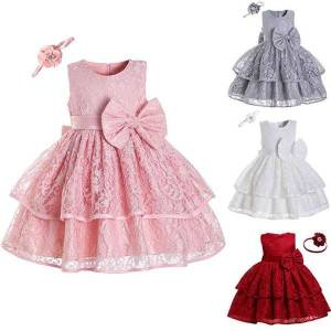 DHgate classic vintage princess baby girl dress bow-knot christening gown infant girls clothes wedding evening bridesmaid flower dresses
