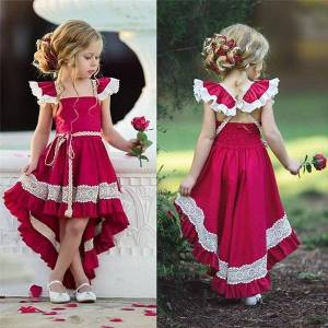 DHgate toddler kids girl ruffle lace dresses sleevelss evening party pageant baby vestidos
