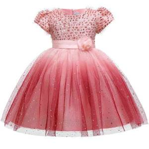 DHgate girl's gradient baby sequin for girls princess formal elegant lace wedding kids clothes dress evening costume party dresses l5161 c0228