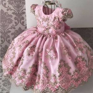 DHgate classic lace flower birthday party kids dresses for girls big bow wedding evening children clothes princess costume vestidos infantil