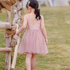 DHgate girl's dresses summer princess kids clothing for girls children's pure color lace gauze evening lglo