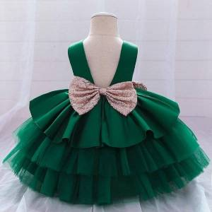 DHgate girl's dresses 1-5y summer toddler baptism dress evening 1st birthday for baby girl clothes bow princess party lace cake