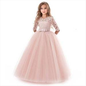 DHgate girls lace for wedding girl dresses embroidery party evening christmas ball gown princess costume children vestido 6 14y