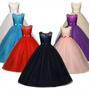 DHgate 5 14 years old girls girl dresses princess lace flower long elegant kids wedding evening prom gowns pageant children clothing