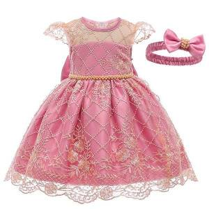 DHgate girl's clothes spring autumn new birthday party evening dresses baby girls clothing lace princess dress 0-5 years 1023