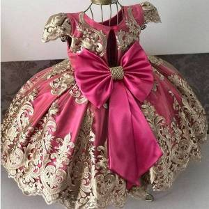 DHgate classic vintage formal princess costume bow-knot kids dresses for girls wedding evening year party flower dress children clothing