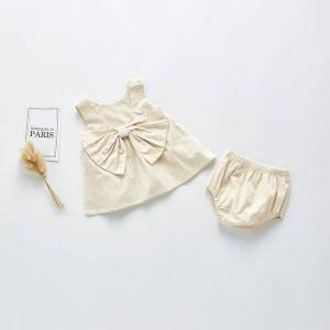 DHgate 2021 summer newborn baby girl clothes suit infant girls outfits bow sleeveless vest  + shorts 2 piece set baby clothing sets