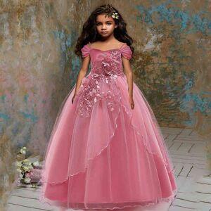 DHgate girl's winter girl evening party long bridesmaid princess costume kids dresses for girls children wedding dress flower c0228
