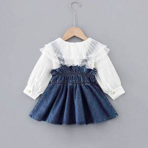 DHgate toddler baby dress 1-3years new 2021 spring autumn kids outwear infant big lace neck shirt+vest dress two pieces set for girls