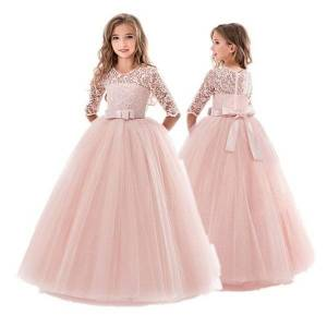 DHgate classic lace flower sleeve winter girls dress christmas party tulle ball gown teenager girls wedding evening kids dresses for girls