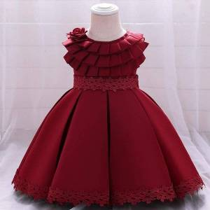 DHgate born toddler baptism dress 1st - 5 years birthday for baby girl clothes solid princess dresses evening party girl's