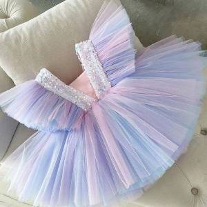 DHgate classic kid girl wedding dress summer elegant prom evening dresses bowknot princess birthday party gown children clothing for girls