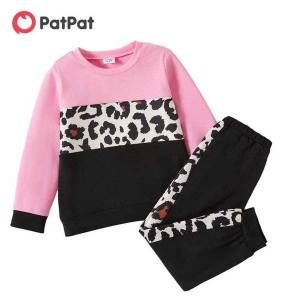 DHgate patpat arrival 2021 spring and autumn fashionable patchwork 2pcs toddler pants suit casual leopard toddler's sets clothing