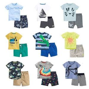 DHgate sets new brand 100% cotton summer 2pcs children clothing suit bebe kids short sleeve clothes set baby boys c0225