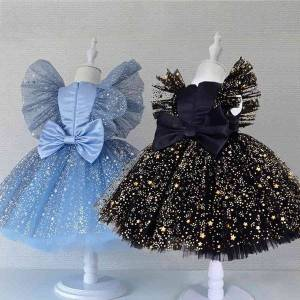 DHgate classic girl dress for wedding summer baby kids princess dresses for girls children bowknot birthday vestidos girls evening prom dress