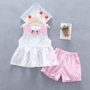 DHgate 2021 summer girl clothing children short sleeve clothes girl suit cute print vest + shorts 2 pieces baby girl sets