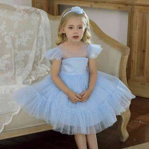 DHgate polka-dots princess girls dress tutu flower kids dresses for girls wedding evening fromal gown tulle party children clothing