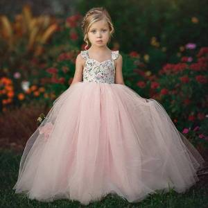 DHgate 1 7 year kids girl dresses girls princess evening party wedding birthday tulle tutu baby clothes summer long maxi