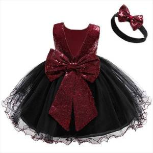 DHgate year red christmas for girl dresses girls kids baby princess evening party shiny star head bow children vestido