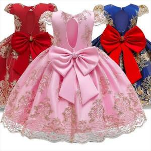 DHgate girls mesh pearls children girl dresses wedding party kids evening ball gowns formal baby frocks clothes for 4 10yrs
