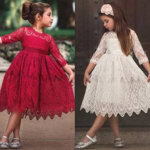 DHgate autumn winter lace girls girl dress embroidery ball gown wedding evening chidlren clothing flower long sleeve kids dresses for