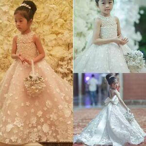 DHgate cute spaghetti handmade flower girls dresses bow belt bead princess kids floor length bridesmaid dress girl pageant ball gown