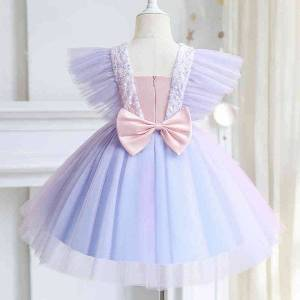 DHgate classic butterfly sleeves princess dress formal party kids dresses for girls wedding evening flower girls lace tulle ball gown size 3-8y