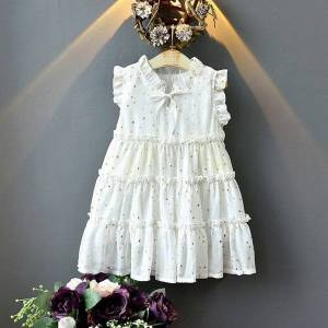 DHgate girl's dresses summer sleeveless gold little star pattern princess for girls costume kids wedding evening 6vnd