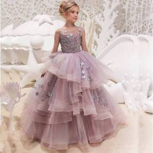 DHgate girl's dresses girls evening applique flower party layered ball gown for wedding princess children clothes 2-13y gd005 hxca