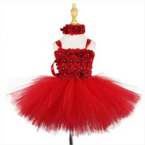 DHgate girls red flower petals girl dress tutu baby crochet tulle with headband kids birthday christmas party costume evening dresses