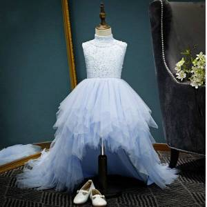 DHgate girl's dresses high low party style light blue beading removable tail perform evening kids clothes e6032 i43g